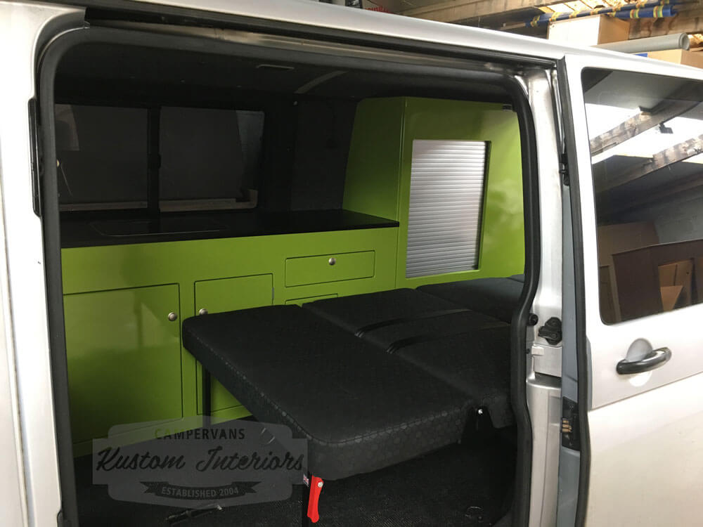 Latest VW T5 Interior project bed down