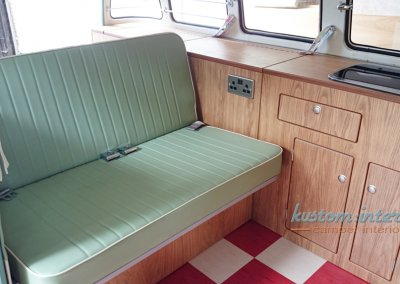 Kustom Interior Splitscreen Interior - David - rock and roll bed upholstery